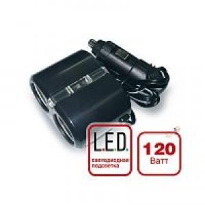 Разветвитель прикуривателя 12/24 (на 2 выхода) CS 204 со светодиодной подсветкой
