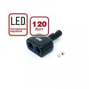 Разветвитель прикуривателя 12/24 (на 2 выхода) CS 205 со светодиодной подсветкой