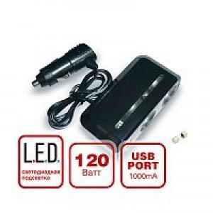 Разветвитель прикуривателя 12/24 (на 2 выхода+USB порт) CS 212U со светодиодной подсветкой