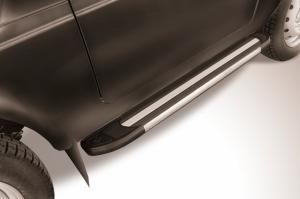 Пороги алюминиевые Luxe Black 1250 для Lada Niva 4X4 Urban 3d