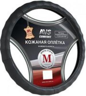 Оплетка на руль (нат. кожа) AVS GL-370M-B (размер M, черная)