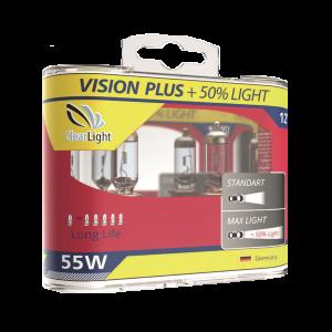 Лампа H1(Clearlight)12V-55W Vision Plus +50% Light (2 шт.)
