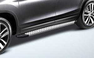 Пороги алюминиевые «Standart Silver» 1800 серебристые для Honda Pilot 2016