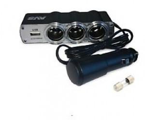 Разветвитель прикуривателя 12/24 (на 3 выхода+USB) CS 314U