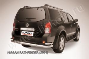 Защита заднего бампера d76+d42 двойная из нержавеющей стали Nissan Pathfinder (2011)