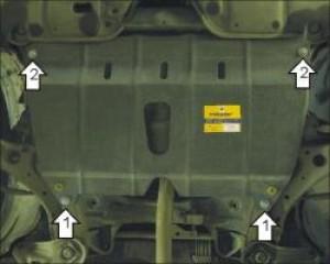 """Защита """"Мотодор"""" для картера, КПП Toyota Camry VI 2006-2010."""