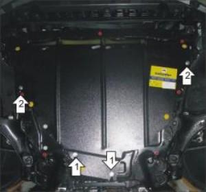 """Защита """"Мотодор"""" для картера, КПП Volvo S80 II 2007-2017."""